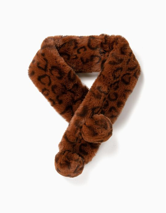 Brown Fur Stole with Pompons