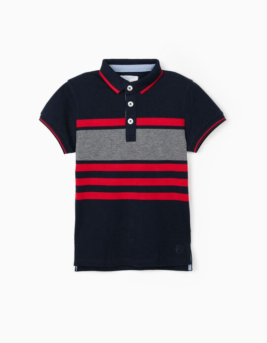 Striped Polo Shirt for Boys, 'B&S', Blue/Red