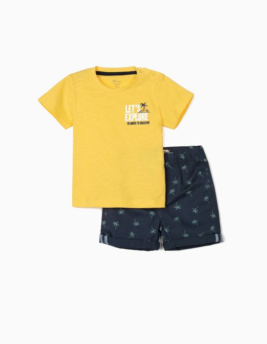 T-shirt and Shorts for Baby Boys, 'Explore', Yellow/Blue