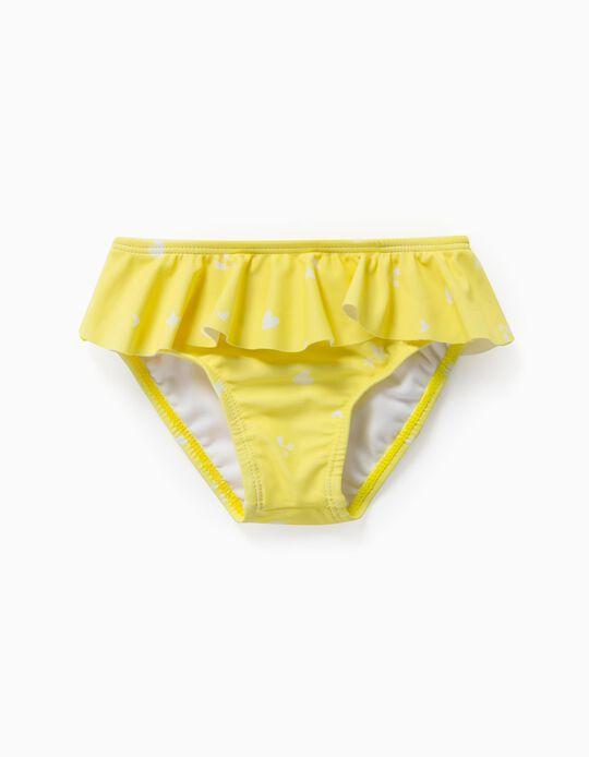 Culotte de bain imprimée bébé fille, jaune