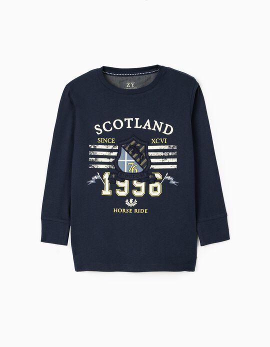 Camiseta de Manga Larga Niño 'Scotland', Azul Oscuro