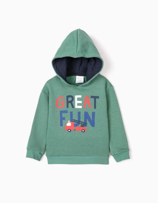 Sweatshirt com Capuz para Bebé Menino 'Great Fun', Verde
