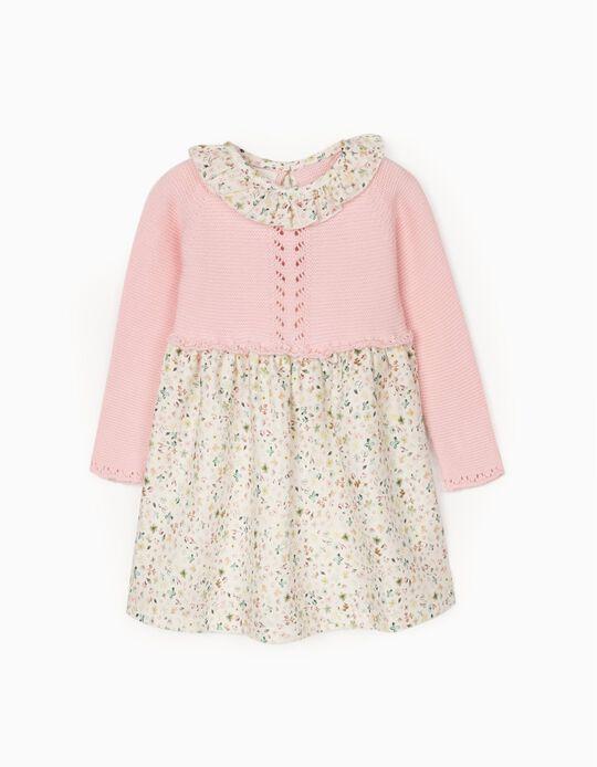 Vestido de Dos Materias para Bebé Niña, Rosa/Beige