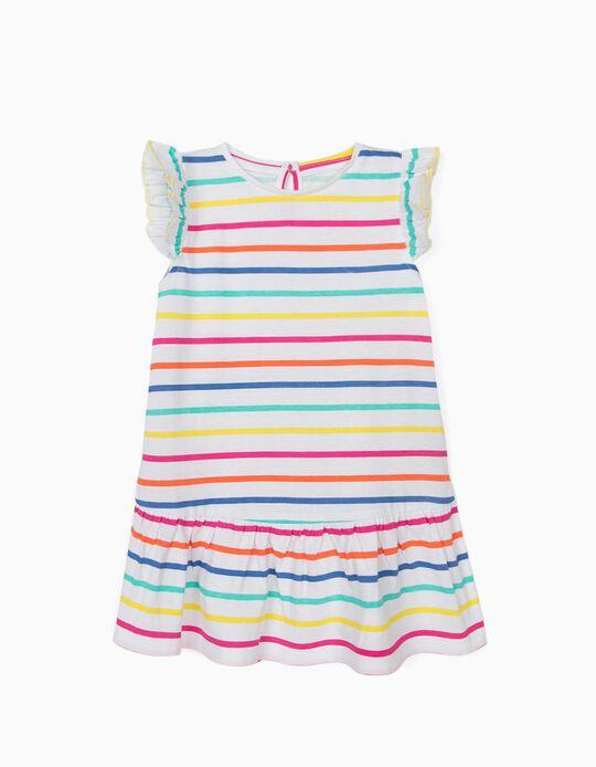 Jersey Knit Dress for Girls, 'Stripes', White
