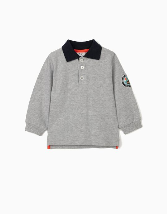 Long Sleeve Polo Shirt for Baby Boys, 'Tree House', Grey