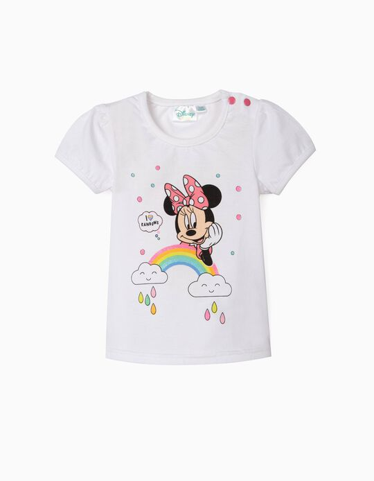 Camiseta para Bebé Niña 'Minnie Rainbows', Blanca
