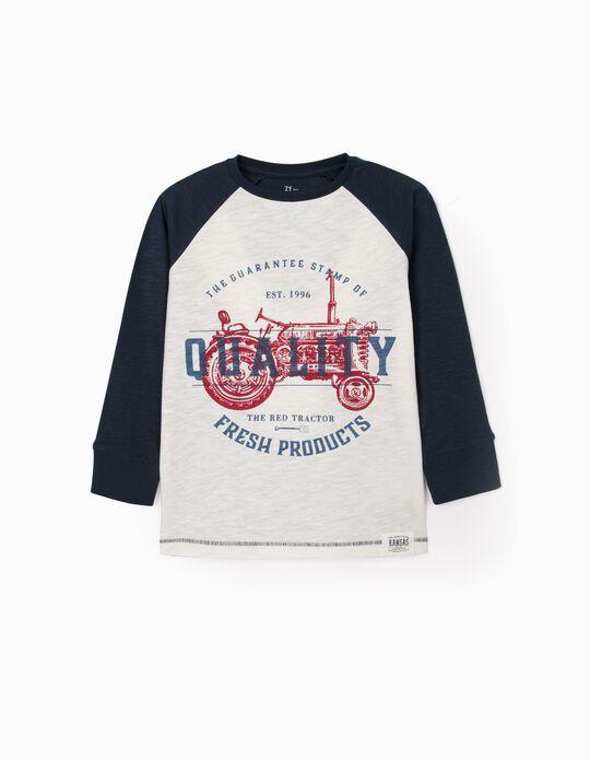 T-shirt Manches Longues Garçon  'Quality', Blanc/Bleu