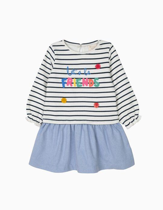 Vestido Combinado para Bebé Menina 'Friends', Branco e Azul