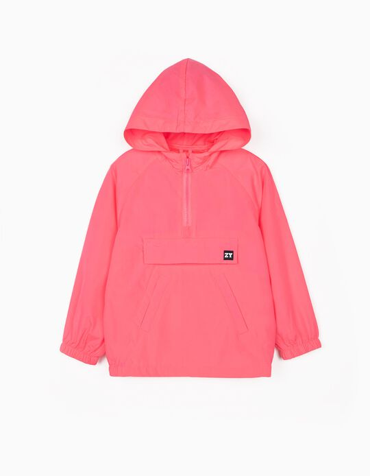 Coupe-vent fille, rose fluo