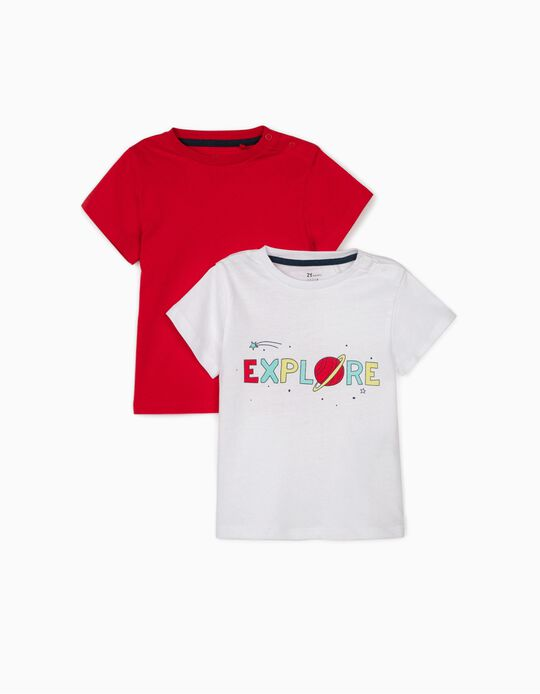 2 T-shirts for Baby Boys 'Explore', White/Red