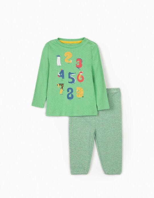 Long Sleeve Pyjamas for Baby Boys, 'Numbers', Green/Grey