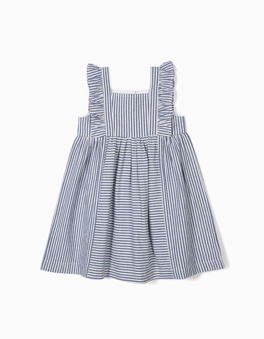 Vestido para Menina 'Riscas e Folhos', Azul e Branco