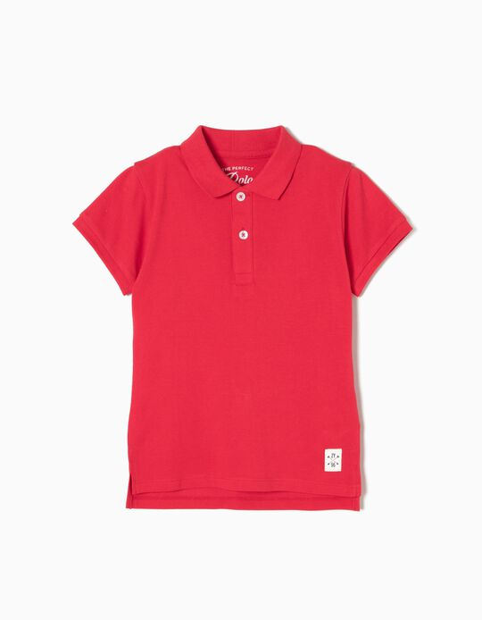 Short-Sleeved Polo Shirt for Boys, Red
