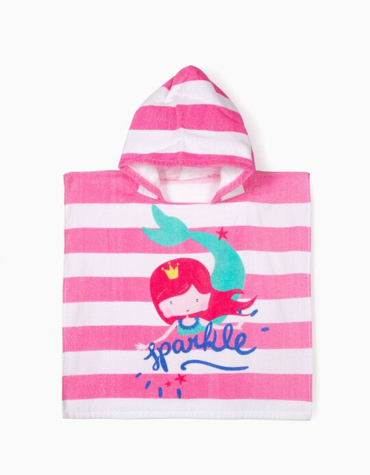 Poncho de Playa para Bebé Niña 'Mermaid', Rosa y Blanco