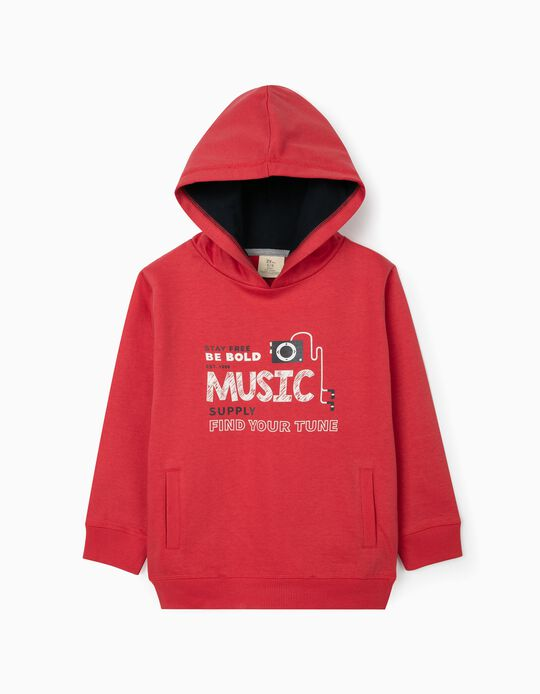 Hooded Sweatshirt for Boys, 'Music', Red