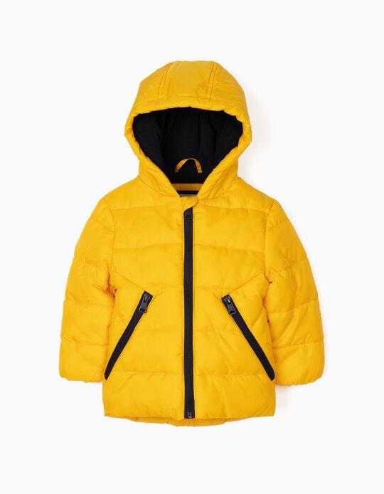 Blusão Acolchoado com Capuz Amarelo e Azul