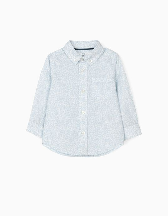Floral Shirt for Baby Boys, Light Blue