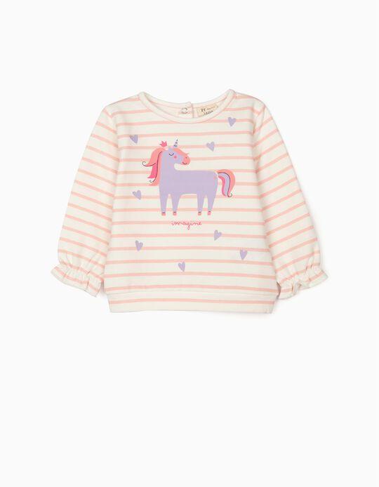 Sweatshirt for Baby Girls 'Unicorn', White/Pink