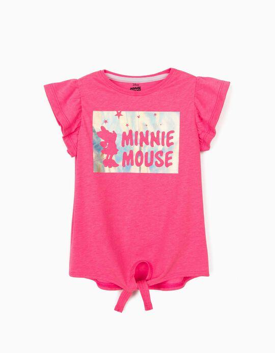 T-shirt avec nœud devant fille 'Minnie Mouse', rose