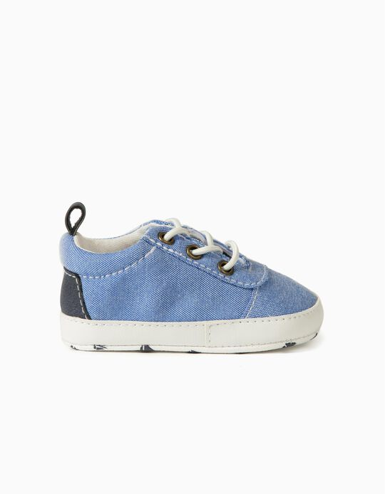 Chambray Trainers for Newborn Baby Boys, Blue