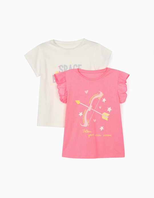 2 T-shirts for Girls, 'Space Explorer', Pink/White