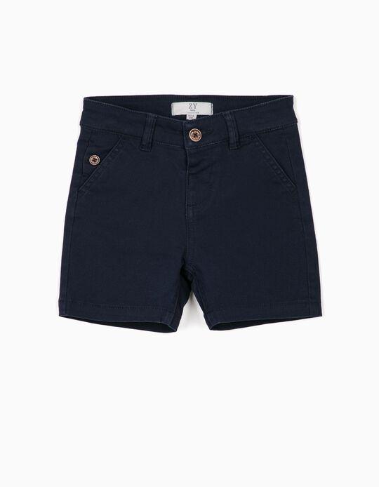 Twill Shorts for Baby Boys, Dark Blue