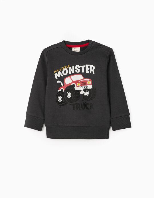 Sweatshirt para Bebé Menino 'Truck', Cinza Escuro