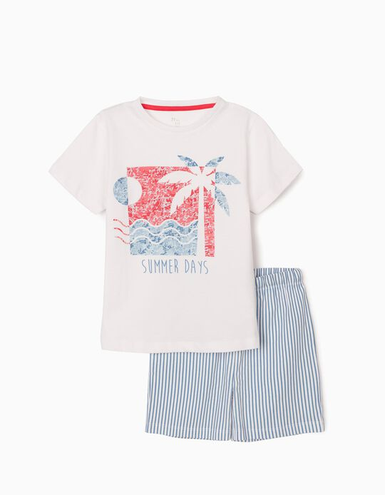 Pyjamas for Boys, 'Summer Days', White/Blue