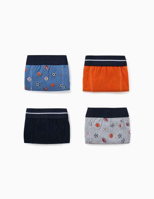 4 boxers garçon 'Sports', gris/orange/bleu