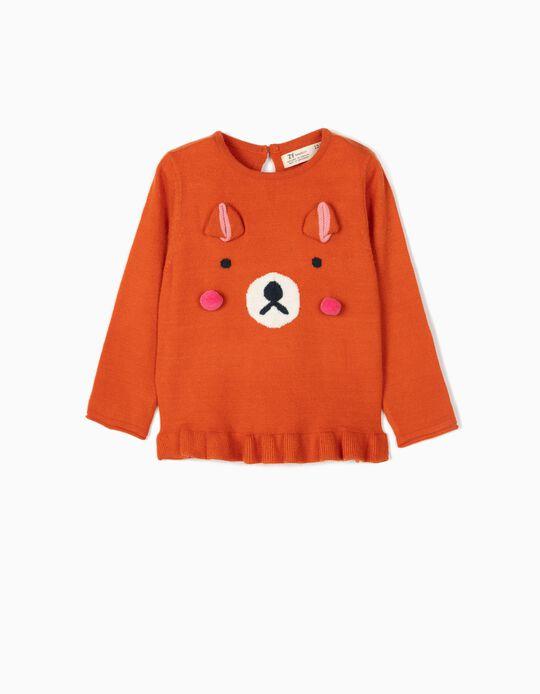 Camisola de Malha para Bebé Menina 'Bear', Laranja