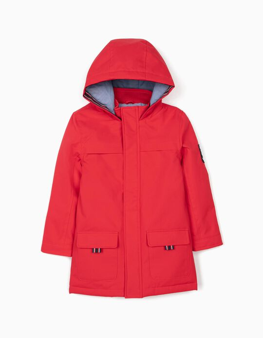 Hooded Parka for Boys 'England', Red