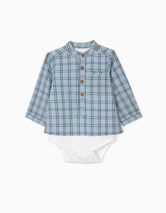 Chequered Shirt-Bodysuit for Newborn Baby Boys, Blue