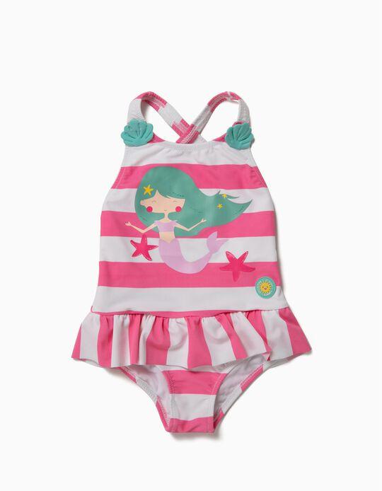 Bañador para Bebé Niña 'Mermaid' Antirrayos UV 80, Blanco y Rosa