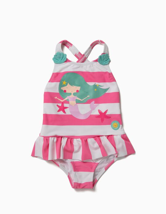 Fato de Banho para Bebé Menina 'Mermaid' Anti-UV 80, Branco e Rosa