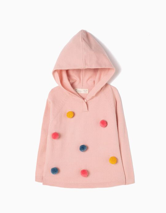 Camisola de Malha Rosa com Capuz Pompons