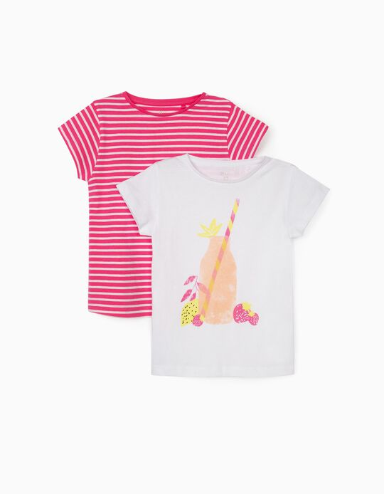 2 T-shirts for Girls, 'Lemonade' White/Pink