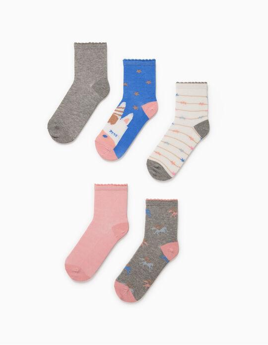 5 paires de chaussettes bébé fille 'Licornes', multicolore