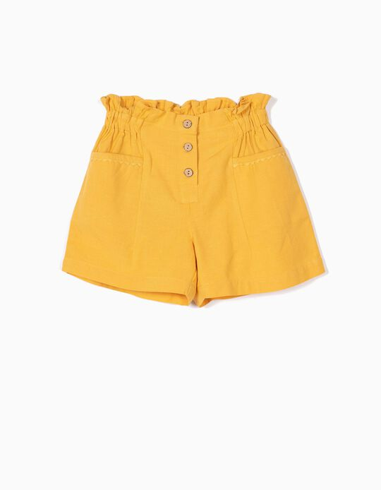 Shorts with Linen for Girls, Yellow