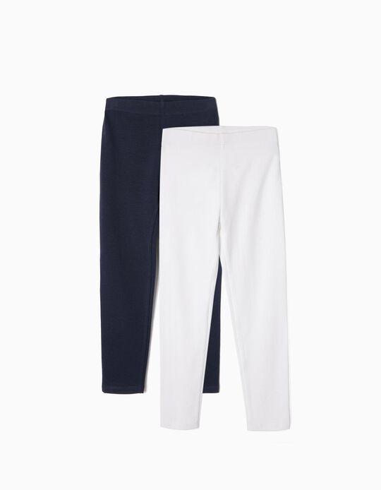 2 Leggings Básicas para Niña, Blanco/Azul Oscuro