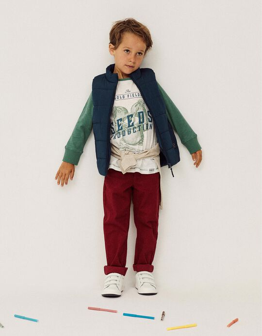 Twill Trousers for Boys, Dark Red
