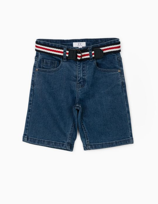 Denim Shorts for Boys, with Belt, Blue