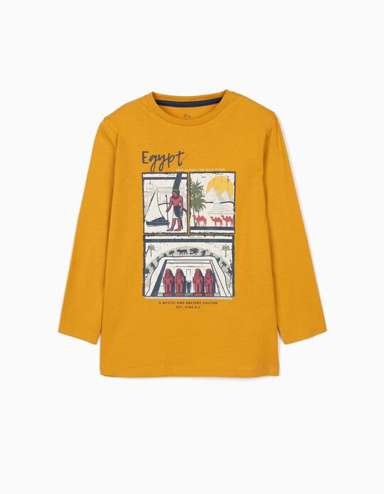T-shirt for Boys, 'Egypt', Dark Yellow