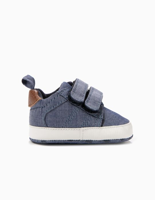 Sapatilhas para Recém-Nascido com Duplo Velcro, Azul