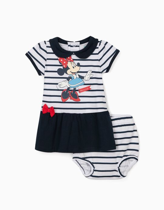 Dress & Bloomer Shorts for Newborn Girls, 'Minnie Mouse', White/Blue