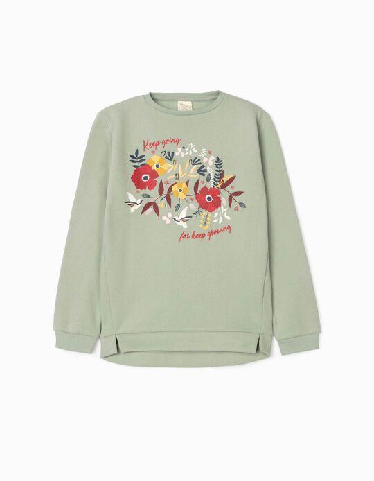 Sweatshirt for Girls, 'Keep Going', Green