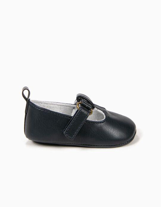 Sapatos para Recém-Nascida com Velcro, Azul Escuro
