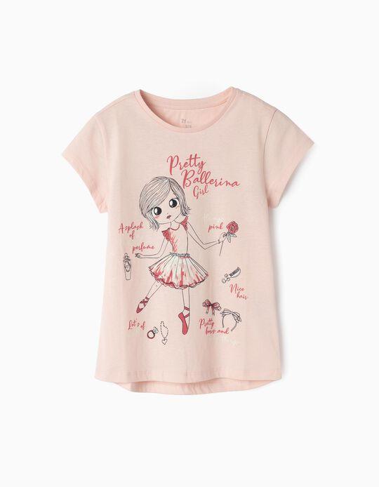 T-shirt para Menina 'Ballerina Girl', Rosa