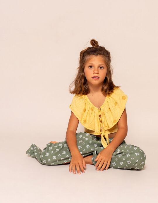 Organic Cotton Top for Girls, 'Sun', Yellow