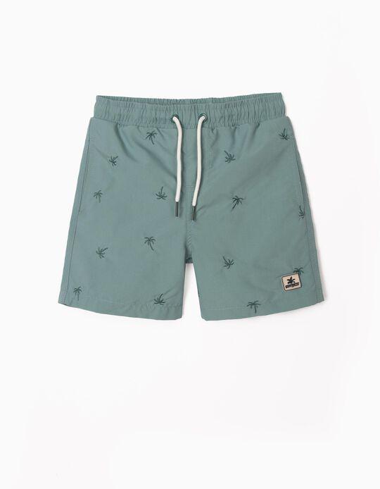 Bañador Short con Bordados para Niño, Verde
