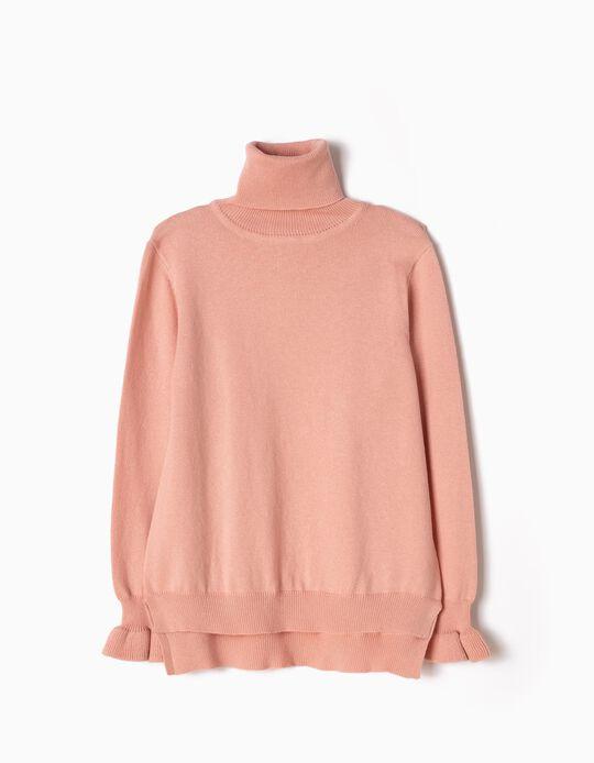 Jersey de Punto de Cuello Alto Rosa